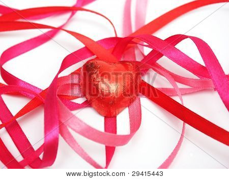 Candy In Red Foil And Red Satin Ribbon