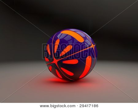 Ball with orange lights from the inside