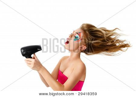 Woman Drying Hair With Fan