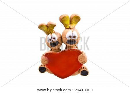 Two Bunnies In Love Statue