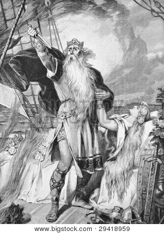 Death by Zigurd Ring, Norwegian king.Engraving by from picture by Pene painter Edelbyuttel. Published in magazine