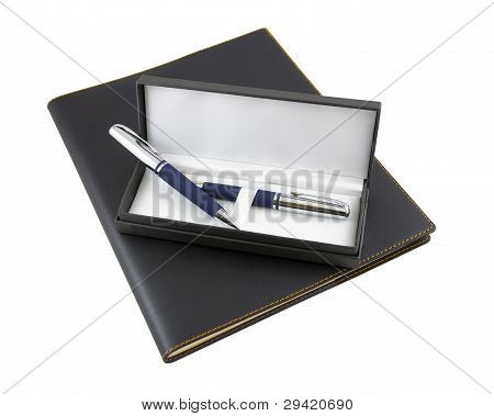 Pen And Pencil In A Gift Box On Top Of Black Luxury Organizer