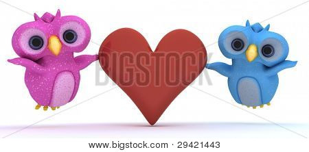 3D Render of cute bird characters holding a heart