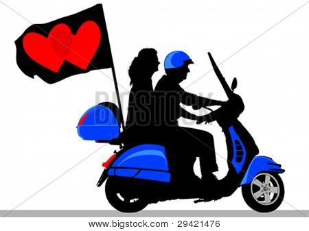 Vector drawing rider on scooter with flag