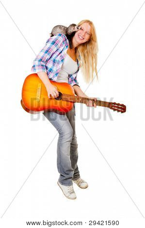 Girl playing the guitar, on her shoulder sits a ferret