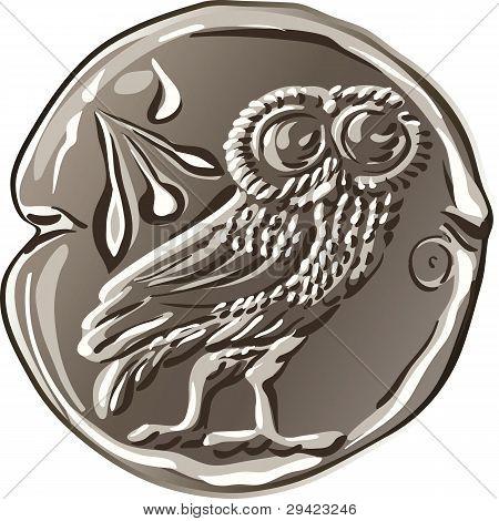 Vector Ancient Greek Money Silver Coin Drachma