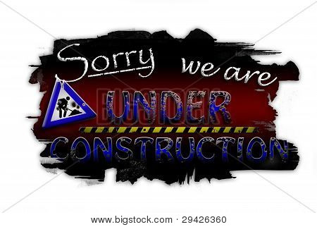 Sorry we are under construction (dark red)