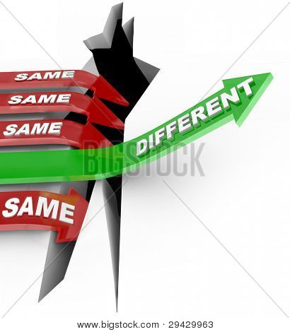 Several red arrow with the word Same fall into an abyss but one successful green arrow with the word Different rises to win a competition, symbolizing the power of new unique ideas and innovation