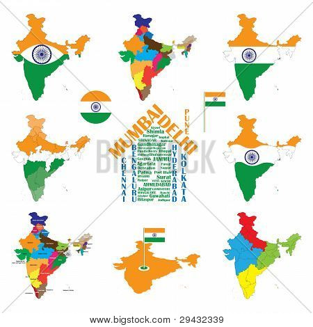 India Map, Indian Cities, States And India Flag