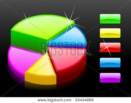 Glossy diagram 1 on black (finance)