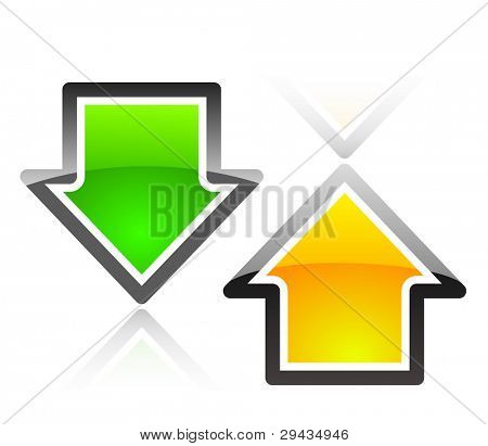 Colorful glassy arrows. Editable vector.
