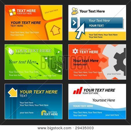 Set of colorful business cards. Editable vector
