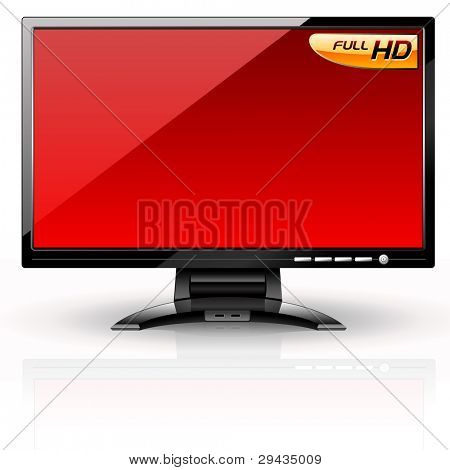 LCD Panel: Red variant. Editable vector