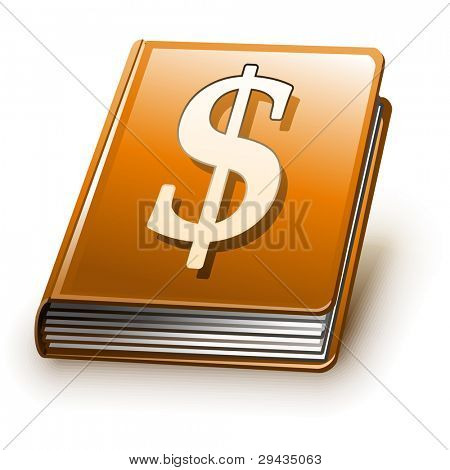 Easy to edit vector book with shadow (Orange version with sign on cover)