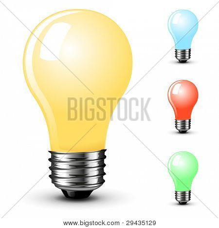 Colored light bulbs. High quality vector image.