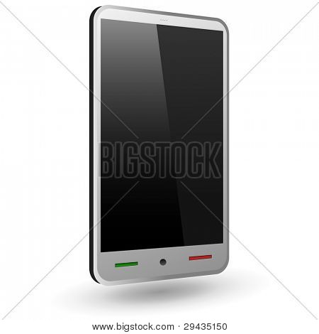 Fictitious touch smartphone 1 (silver). Vector Illustration.