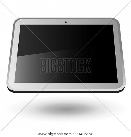 Fictitious touch tablet PC 4 (silver, horizontal view). Editable vector Illustration.