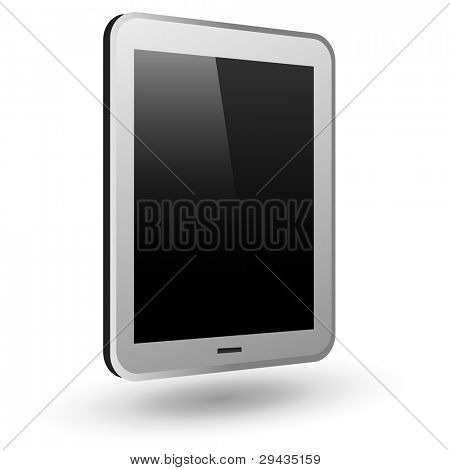 Fictitious touch tablet PC 3 (silver, vertical view). Editable vector Illustration.