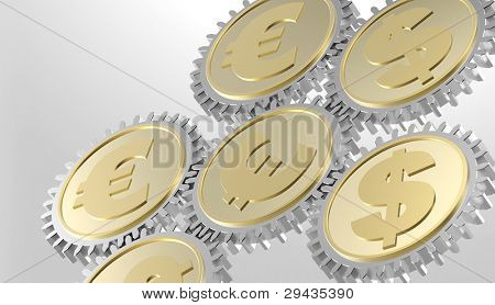 Linked gear with a dollar and euro sign. Computer generated 3D photo rendering.
