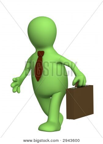 Puppet - Businessman With A Portfolio And In Tie