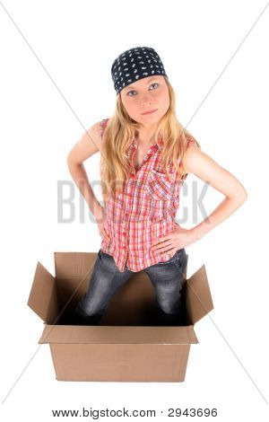Girl In A Cardboard Box Looking Up