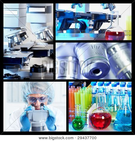 Scientific background collage. Medical research. Doctor with microscope.