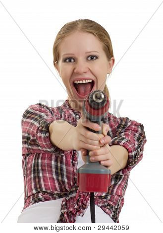 Cheerful Girl With Cordless Drill
