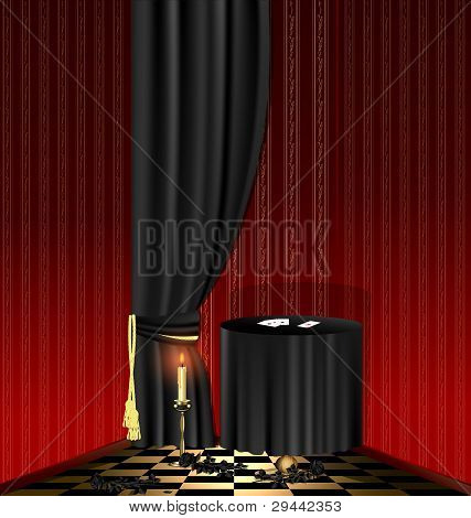 black table in the red room