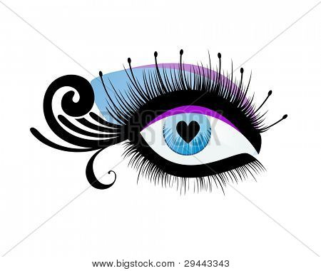 Beautiful eye with heart as pupil (use with or without lashes with circles)