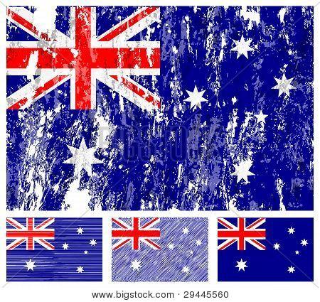 Australia Grunge Flag Set