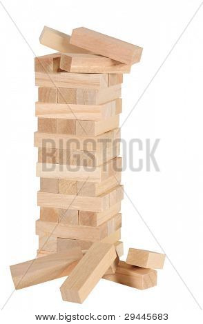 Blocks of wood, isolated. Conceptual.