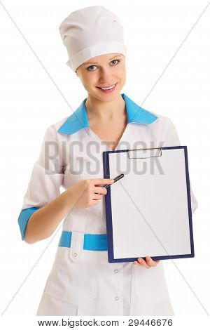 Woman Doctor With An Advertising Tablet