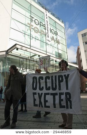 Occupy Exeter Activists Outside Exeter Branches Of Topshop