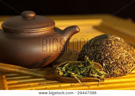 Chinese Green Tea And Tea Set