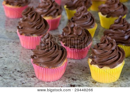 chocolate frosted cupcakes in yellow and pink wrappers on granite kitchen countertop