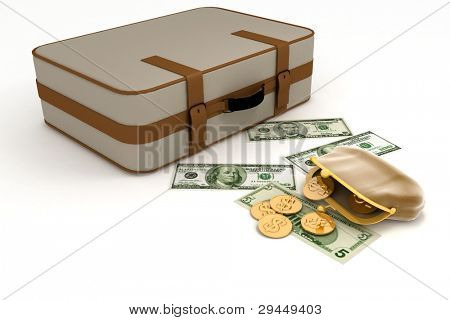 Suitcase and open purse with money on white