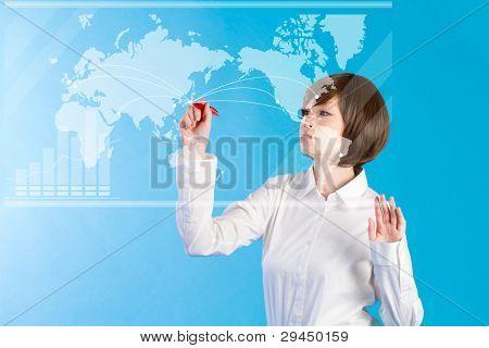 Beautiful business woman pushing touch screen.