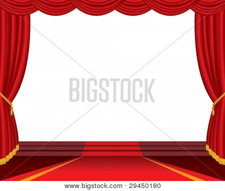 vector empty stage with red carpet and stairs