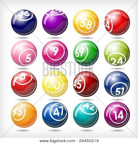 art illustration of set bingo or lottery  balls isolated over white