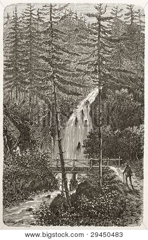 Saut-de-la-Cuve old view, France. Created by Clerget, published on Le Tour du Monde, Paris, 1867