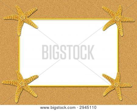 Sand And Starfish Frame Background