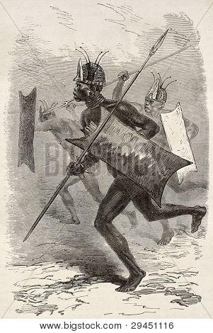 Rhinoceros head old illustration. By unidentified author, published on Le Tour du Monde, Paris, 1867