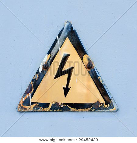 "Warning safety sign ""Danger of electric shock""."