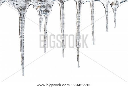 icicles. Isolated with clipping path