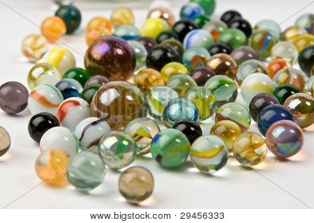 Wave Of Spilled Colorful Glass Marbles