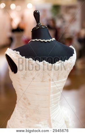 White Bride Costume On Shop Mannequin With Shallow Dof