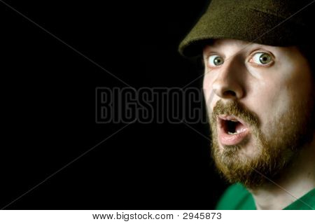 Surprised Man - Close-Up, Shallow Dof, Focus On Nearest Eye