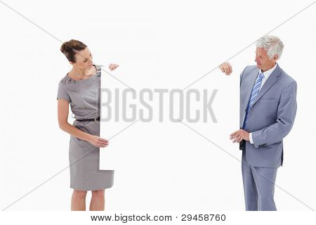 White hair businessman looking and holding a big white sign with a woman against white background