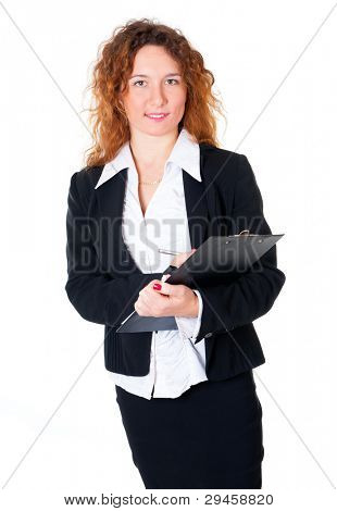 Businesswoman holds out a pen to sign the papers