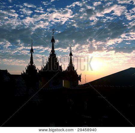 Golden decor in Buddhist temple in Myanmar